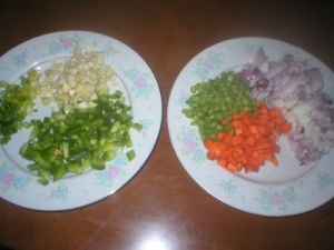 Finely cut vegetables